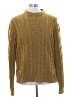 1970's Mens Mod Cable Knit Crew Sweater