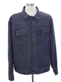 1980's Mens Mod Denim Gas Station Jacket