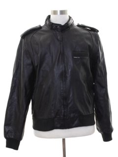 1980's Mens Totally 80s Members Only Cafe Racer Leather Jacket