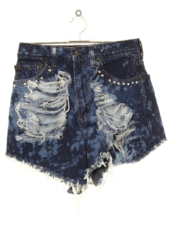 1990's Womens Thrashed Bleach Acid Washed Cut-off Denim Jeans Short Shorts