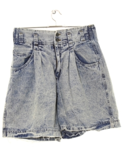1980's Womens Totally 80s Paperbag Waist Super Highwaisted Baggy Denim Jeans Shorts