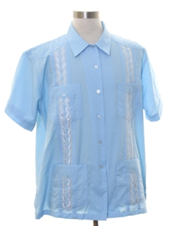 1980's Mens Embroidered Guayabera Shirt
