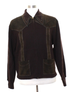 1960's Mens Mod Leather Sweater Jacket
