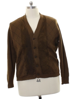 1970's Mens Leather Cardigan Sweater