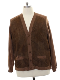 1960's Mens Leather Cardigan Sweater