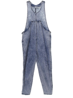 1980's Womens Totally 80s Acid Washed Overall Jumpsuit Pants