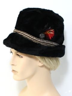 1960's Mens Accessories - Fake Fur Fedora Hat