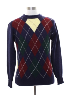1980's Mens Totally 80s Preppy Argyle Sweater