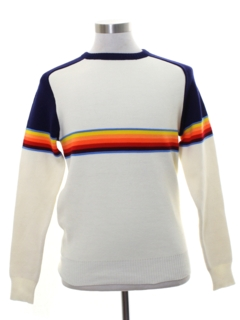 1980's Unisex Totally 80s Rainbow Ski Sweater