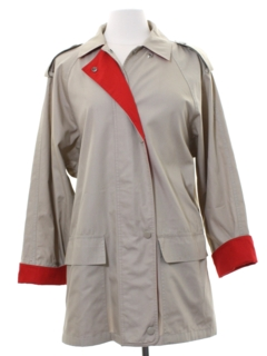 1980's Womens Totally 80s Car Coat Stytle Rain Jacket