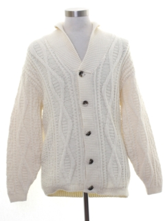 1970's Mens Cable Knit Cardigan Sweater