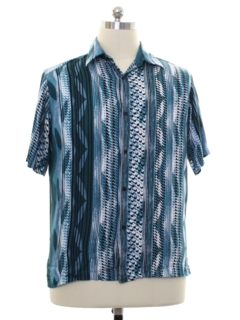 1990's Mens Rayon Graphic Print Club Style Sport Shirt