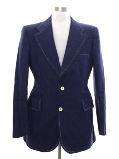 1970's Mens Denim Blazer Sport Coat Jacket