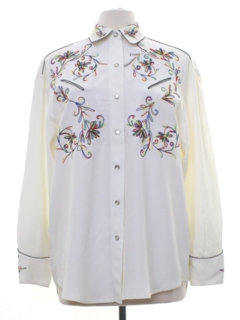 1980's Womens Rodeo Style Embroidered Western Shirt