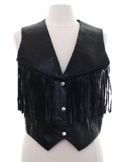 1990's Womens Wicked 90s Fringed Leather Vest