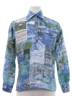1970's Mens Hawaiian Photo Print Resort Wear Disco Shirt