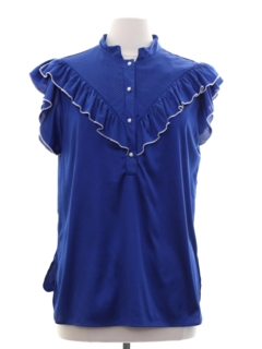 1980's Womens Totally 80s Ruffled Front Shirt