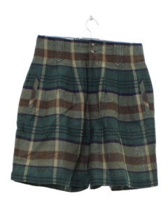 1980's Womens Highwaisted Preppy Plaid Shorts