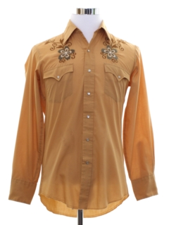 1970's Mens Hippie Style Embroidered Western Shirt