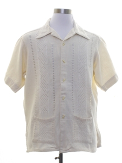 1970's Mens Hippie Guayabera Inspired Shirt