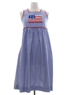 1980's Womens Patriotic Picnic Dress