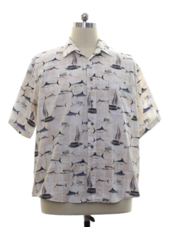 1990's Mens Sailboat Print Sport Shirt