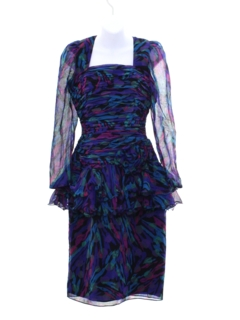 1980's Womens Totally 80s Prom Or Cocktail Wiggle Dress