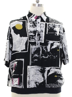 1990's Mens Wicked 90s Graphic Print Sport Shirt