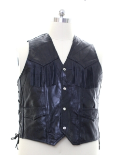 1980's Mens Leather Biker Vest