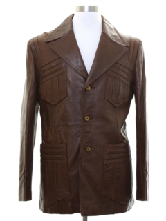 1970's Mens Mod Leather Leisure Style Jacket