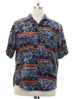 1980's Mens Goouch Totally 80s Graphic Print Silk Shirt