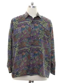 1980's Mens Totally 80s Graphic Print Silk Shirt