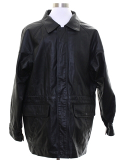 1990's Mens Mod Leather Car Coat Jacket