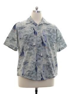 1990's Mens Hawaiian Style Sailboat Shirt