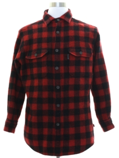 1990's Mens Lumberjack Plaid Wool Blend Flannel Shirt