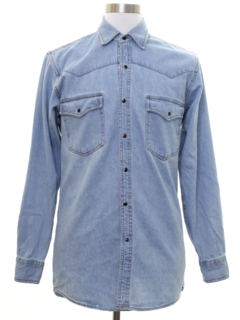 1980's Mens Chambray Western Hippie Shirt