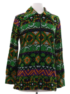 1960's Womens Mod Hippie Tunic Shirt