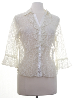 1960's Womens Ruffled Front Lace Shirt
