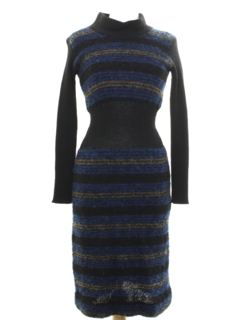 1970's Womens Mod Wiggle Wool Knit Dress