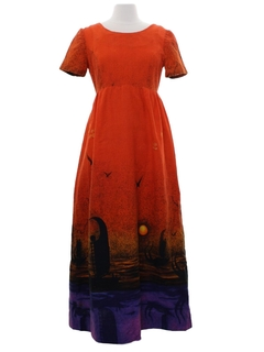 1970's Womens Hawaiian Inspired Hippie Dress