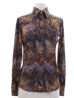 1980's Womens Print Disco Style Western Shirt