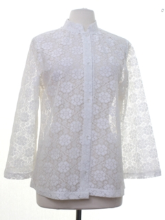 1970's Womens Mod Lace Hippie Shirt