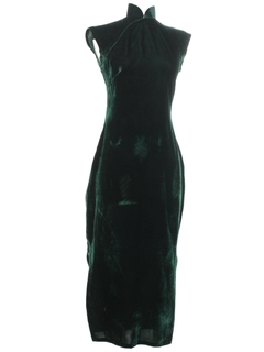 1980's Womens Velvet Cheongsam Cocktail Dress