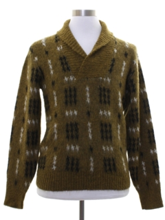 1950's Mens Rockabilly Shaggy Faux Mohair Sweater