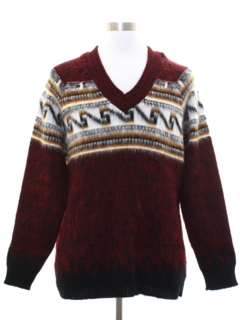 1960's Mens Mod Shaggy Faux Mohair Sweater