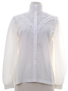 1980's Womens Ruffled Front Prairie Shirt