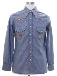 1970's Unisex Embroidered Chambray Western Hippie Shirt