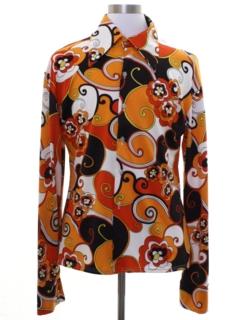 1970's Mens Costume Reproduction 70s Print Disco Shirt