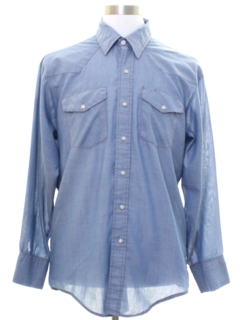 1980's Mens Chambray Western Shirt