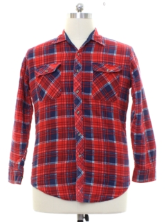1980's Mens Quilted Lined Lumberjack Plaid Flannel Shirt